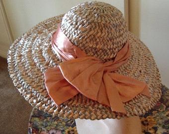 Designer Coral and Grey Straw Hat  Wide Picture Brim Satin Trim  Item #720  Hats