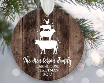 "Family Ornamen Farmhouse Family of four Ornament Personalized Christmas Ornament Rustic ""wood"" Family of 4 Farm animal ornament OR854"