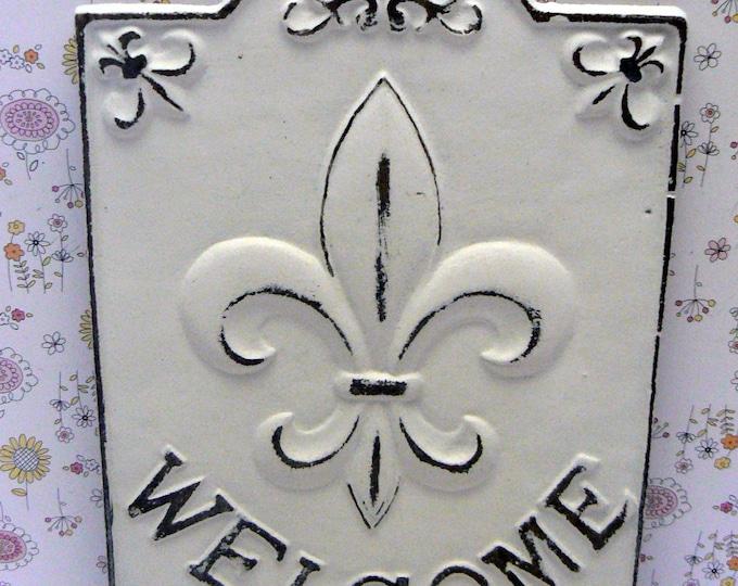 Fleur de lis Ornate Welcome FDL Sign Shabby Chic White Home Decor
