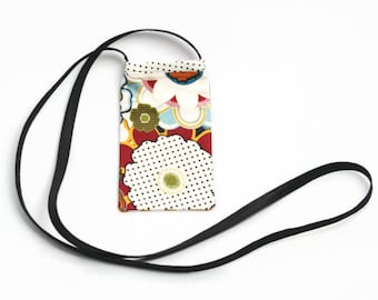Cell Phone Pouch, Cell Phone Bag, Cross Body Bag, Smart Phone Pouch, Women's Accessories, Cell Phone Purse, Mod Flowers, Yellow Polka Dots