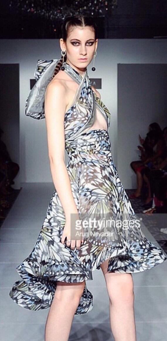 Selena Gomez Short Butterfly Print Dress By Irina Shabayeva