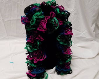 Knitted Ruffle Scarf Green, Blue, Black, and Mauve