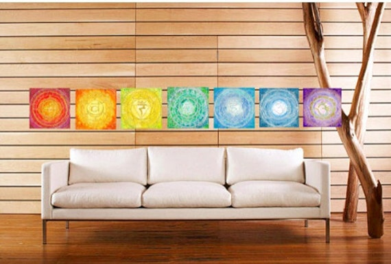 All Seven 8X8 Chakra Giclee Prints Frameable Mandala Spiritual Sacred Geometry Art by Lauren Tannehill ART