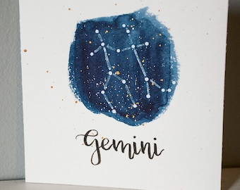 Gemini Constellation Painting - Galaxy, Night Sky, Stars, Original Watercolor