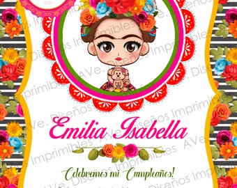 Frida Kahlo Invitations Party, Frida Kahlo Birthday Invitations, Frida Kahlo Mexican Party, Frida Kahlo Floral and Stripes Invitations