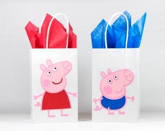 Peppa Pig Birthday- Peppa Pig Birthday Party Bags - Peppa Pig Party Bags - Peppa Pig Party -  Peppa Pig Goody Bags-Peppa Pig Bags-Peppa Pig