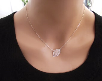 Leaf Silver Necklace, Sterling Silver necklace, Leaf Jewelry - Cute, Dainty, mother, mom, teen, Birthday gift