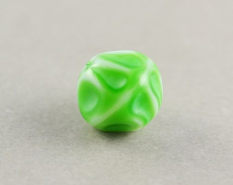 Green Vintage Bead, 10mm Glass Focal Bead, One