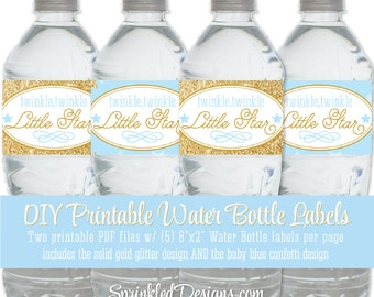 Twinkle Little Star Printable Water Bottle Labels - Baby Blue Gold Glitter Drink Wraps Wrappers, Gender Reveal Baby Shower Birthday Decor