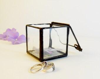 Glass Display Box. Small Jewelry Box. Ring Bearer Wedding Ring Box. Small Cube.