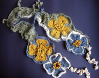 Scarf/Stole/Capelet, Freeform Crocheted  free shipping