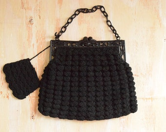 1940's  Black Crochet Clutch with Celluloid Frame and Chain