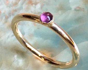 February birthstone ring, Gold ring, Amethyst ring, stacking ring, Gold Filled ring, custom ring, dainty ring, stone ring - So happy R2453