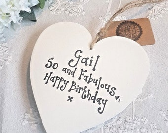 Personalised Happy 18th 21st 30 40 50th Birthday Heart Friend Family Handmade