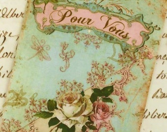 For You Tags , French Country Tags , French Farmhouse ,  Shabby and Chic , French Gift Tags -  Pour Vous  -  Roses and Bling