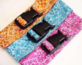Dog Cooling Collar Fabric Neck Cooler Band Collar with Buckle Adjustable Size Medium 14 to 18 inch Bandana Print Blue Pink Orange iycbrand