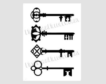 Vintage Keys Silhouette Pattern No. 2, Cross Stitch Pattern, Cross Stitch Silhouette, Patterns from NewYorkNeedleworks on Etsy