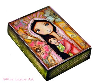 Young Madonna with Child and Flowers - ACEO Giclee print mounted on Wood (2.5 x 3.5 inches) Folk Art  by FLOR LARIOS