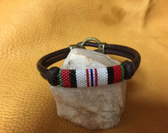 Beaded Afganistan Campaign Ribbon on Double Corded Brown Leather Bracelet