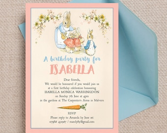 Personalised Flopsy Bunnies Beatrix Potter Kids Party Invitation Cards