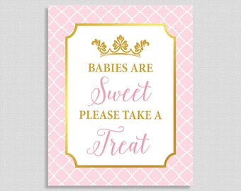 Babies Are Sweet Please Take a Treat Shower Sign, Pink and Gold Baby Shower Sign, Princess Baby Girl Favor Sign, INSTANT PRINTABLE