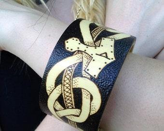 Mjolnir Viking Bracelet Wood Burned Bangle Thors Hammer Mythology Jewelry