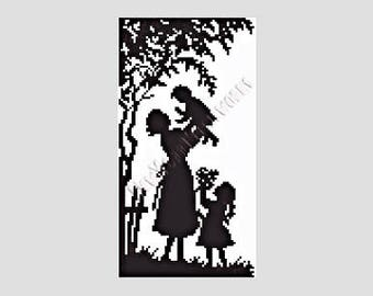 Mother With Children Silhouette Cross Stitch, Cross Stitch Silhouette, Silhouettes, Crochet Pattern, Needlepoint, NewYorkNeedleworks on Etsy