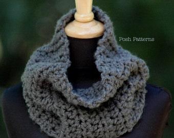 Crochet PATTERN - Easy Crochet Cowl Pattern - Crochet Infinity Scarf Pattern - PDF 255 - Adult Ladies Teen Girl Crochet Scarf Pattern