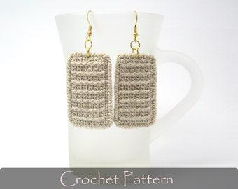 CROCHET PATTERN - Rectangle Earrings Crochet Fabric Pattern Crochet Earrings Jewelry Crochet Tutorial Dangle Earrings PDF - P0019