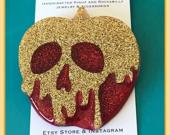 Gold and Red Glitter Poison Apple Pinup Brooch Rockabilly Pin