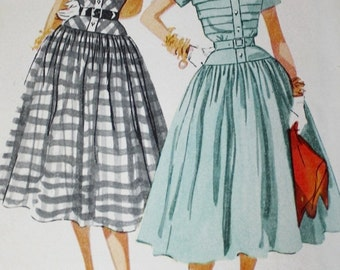 1950s Simplicity 4210 Full Skirt Dress, Tucked Bodice, ROCKABILLY Vintage 50s Sewing Pattern, Size 12 Bust 30