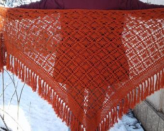 big crocheted  terrakot womens shawl lace shawl knit shawl neck warmer hand shawl fashion scarf unique gift avant garde clothing Christmas
