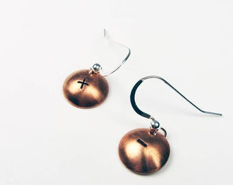 Math Jewelry: Plus and Minus Earrings in Sterling Silver for Teacher, Mathematician, Math Geek Gift