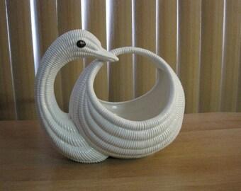Vintage Swan planter / Vintage Swan Jar with flower