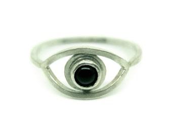 Sterling silver & onyx evil eye ring