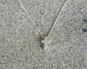 Cross Necklace, Tiny Cross, Silver Cross, Pendant