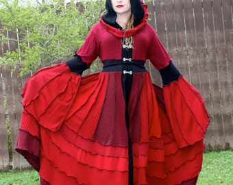 Custom Recycled Sweater Coat with a Medieval Liripipe Hood by SnugglePants- Erzsébet Báthory- Blood Red