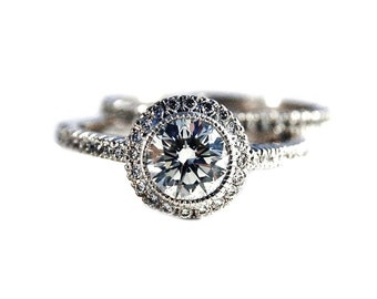Pave Halo Engagement Ring and Band