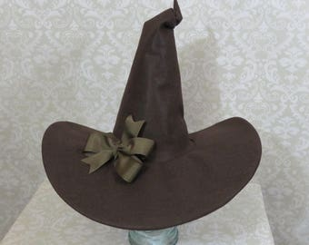 Brown Witch Hat- Felt Hat with Bow or Feathers