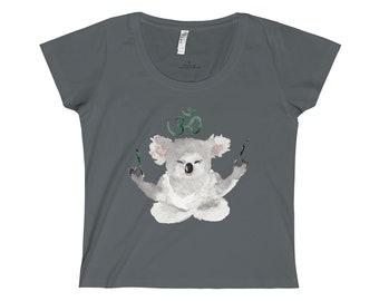Women's Tee Koala Tee Meditation Yoga Loose Fit Shirt