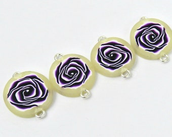 Purple rose beads/ handmade beads/ polymer clay beads/ beads supply/ rose beads/ purple beads/ rose cabochon/ artisan beads/ flower beads