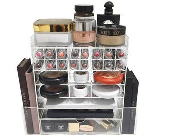 Deluxe Spinning Tower | Acrylic makeup organiser lipstick brush comapact holder