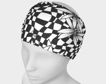 Floral Reversible Headband   Exercise Headband   Fitness Headband   Black Headwrap   Wide Head Wrap   Extra Wide Headband   Black Head Wrap