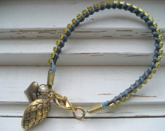 Artichoke Hearts wrapped leather cord charm bracelet, rhinestone bracelet