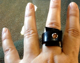 Black Leather Ring,Wraped Around Ring