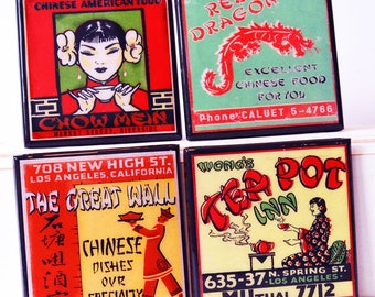 Chinese Restaurant Coaster Set, Chinese Take Out Wood Coasters, Retro Kitchen Decor, Matchbook Art, Unique Hostess Gift, Party Favor