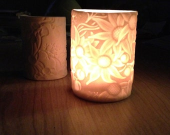 Porcelain Australian Flannel Flower Tealight Holder
