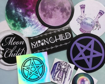Witchy Sticker Pack #1, Moonchild, Pentacle, Crystal Ball Empress tarotstickers, limited edition sticker pack
