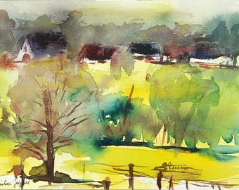 Original watercolor of houses in the countryside on top of a hill in France, original painting of a French landscape,yellow fields and trees