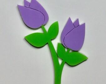 Mauve Tulip Brooch